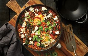 Shakshuka with lentils and feta