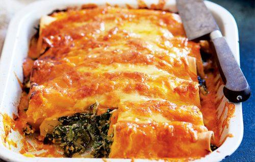 Spinach, pumpkin and ricotta cannelloni