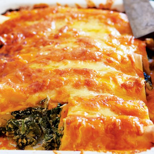 Spinach, pumpkin and ricotta cannelloni