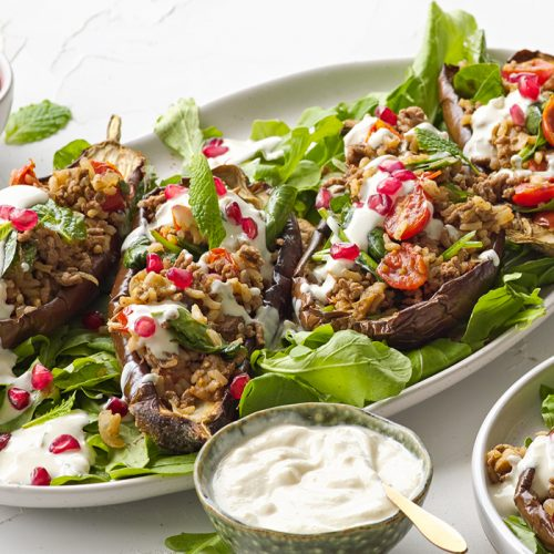 Stuffed eggplant with tahini sauce