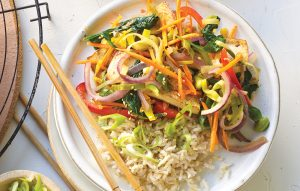 Tofu and leek stir-fry