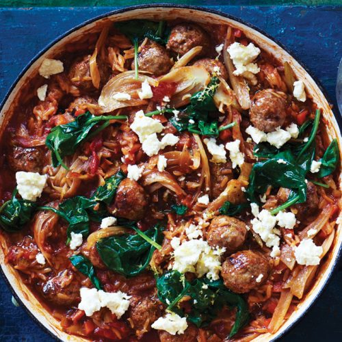 Baked Greek-style meatballs with risoni