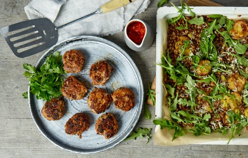 Beef and vege rissoles with lentil potato smash and tomato sauce