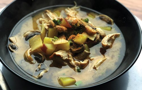 Chicken and kumara miso soup