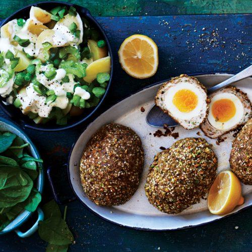 Dukkah scotch eggs with potato and pea salad