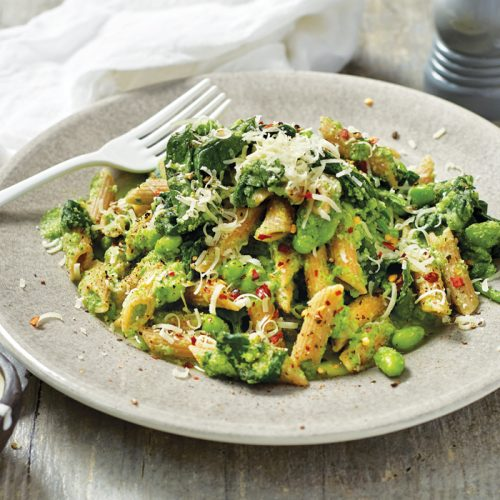 Green pasta with edamame and parmesan