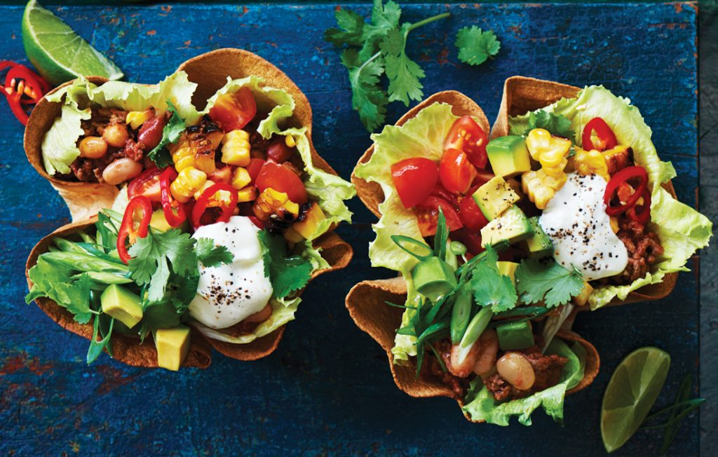 Mexican mince and bean tortilla bowls
