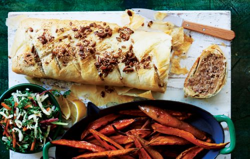 Moroccan lamb strudel with kumara wedges and kale coleslaw