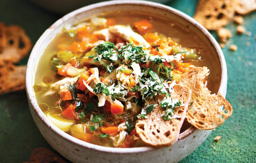 Quick chicken and vegetable soup with gremolata