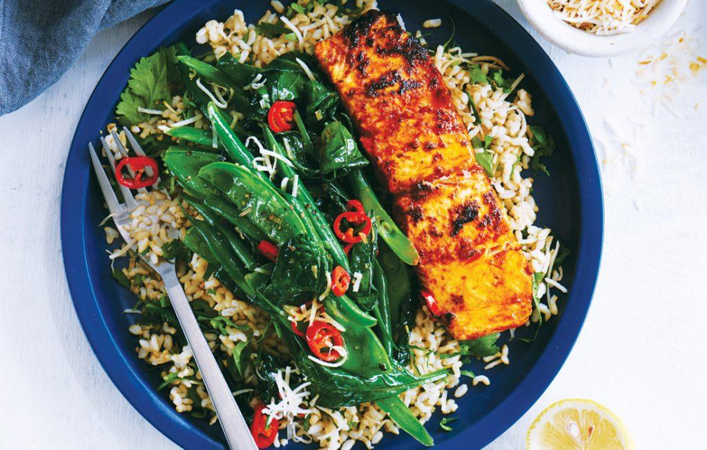 Tandoori salmon with toasted coconut greens
