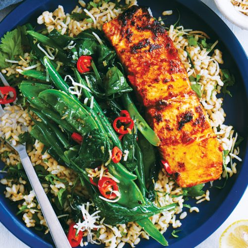 Tandoori salmon with toasted coconut greens