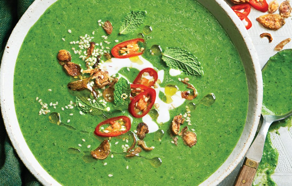 Thai green pea blender soup