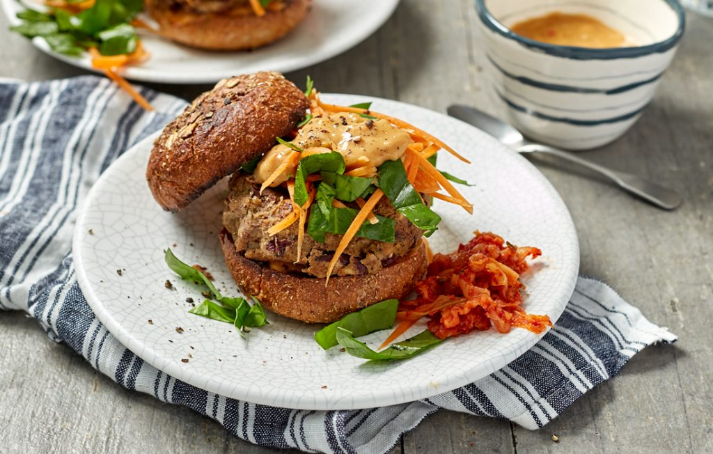 Vege burgers with slaw and peanut sauce