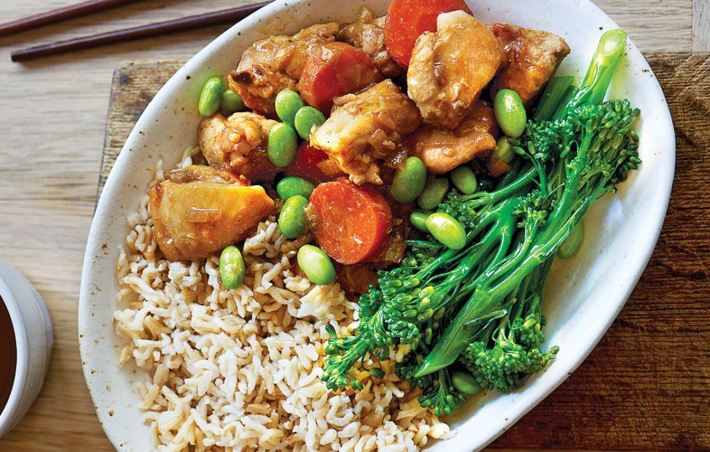 Braised Japanese chicken with edamame
