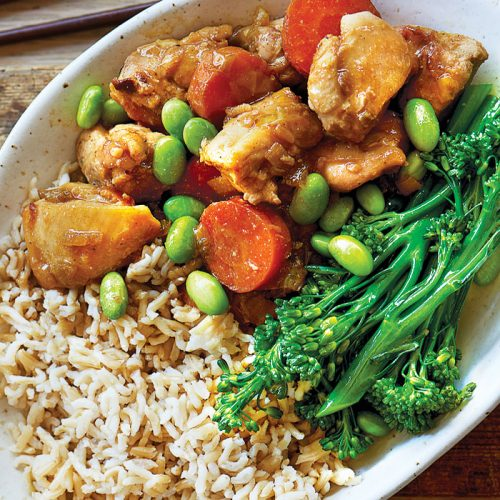 Braised Japanese chicken with edamame