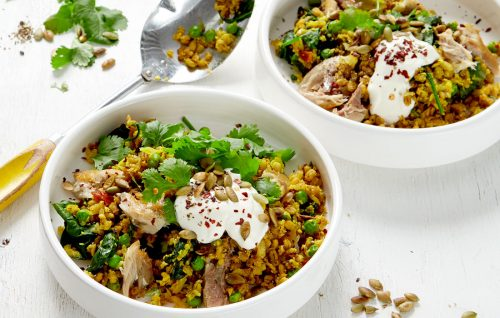Cauliflower and barley pilaf with smoked fish