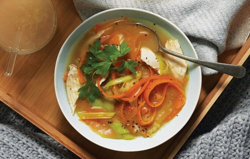 Chicken and lentil ginger soup with a warm ginger and honey drink