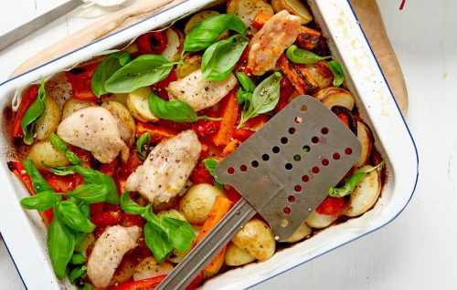 Chicken and new potato bake with summer herbs and yoghurt lemon dressing