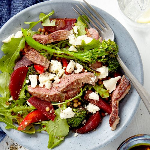 lamb with beetroot, feta, lentil and broccolini salad