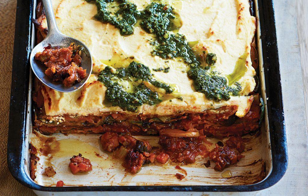 Lentil, pumpkin and pesto ricotta lasagne