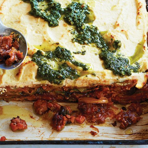 Lentil, pumpkin and pesto ricotta lasagne