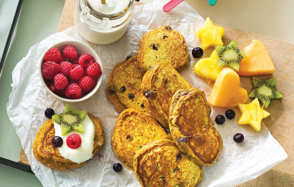 Pumpkin and blueberry pikelets
