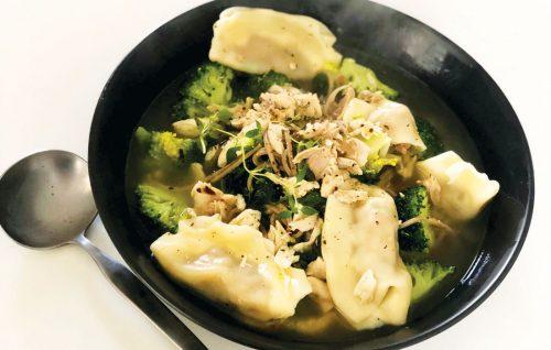 Quick vege dumpling soup