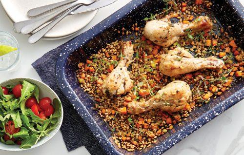Roast chicken drumsticks with quick-cook barley baked pilaf