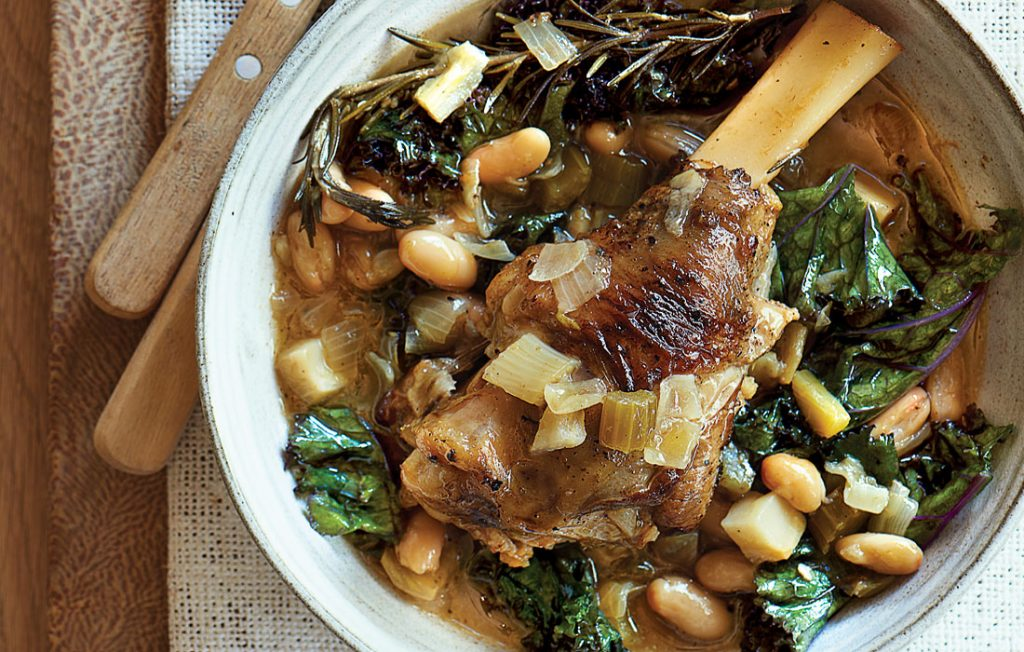 Slow-braised lamb with fennel, rosemary, garlic and lemon