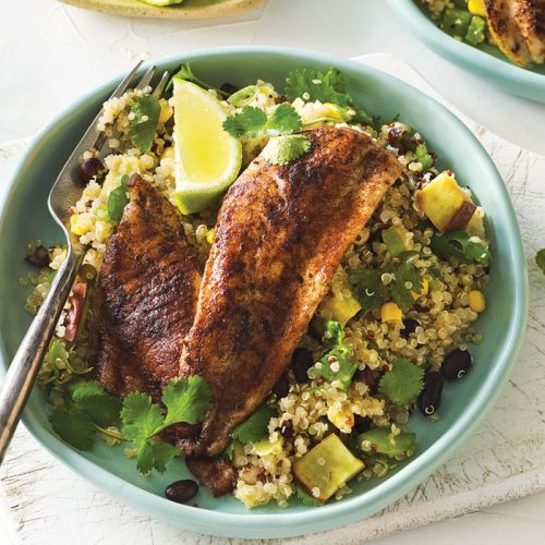 Spice rubbed fish with quinoa and kumara salad