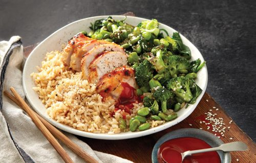 Spicy miso chicken with rice and vege toss