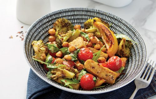 Spicy roasted chickpeas with tempeh and tahini dressing