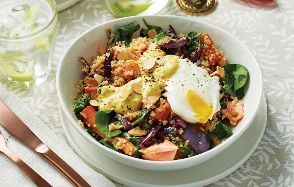 Warm salmon and quinoa salad with kiwifruit flavoured water