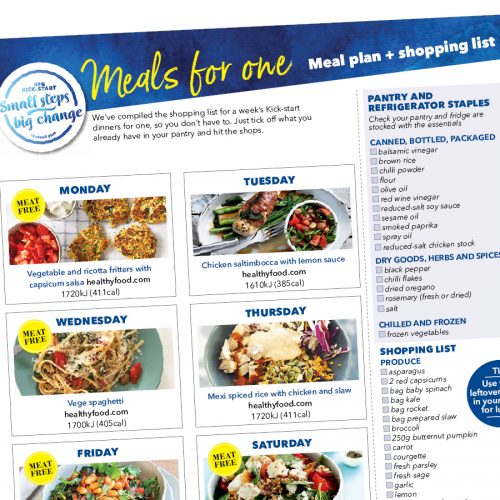 Kick-start meal plan: Meals for one