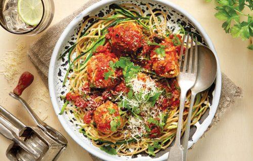 Spring spaghetti with chicken meatballs