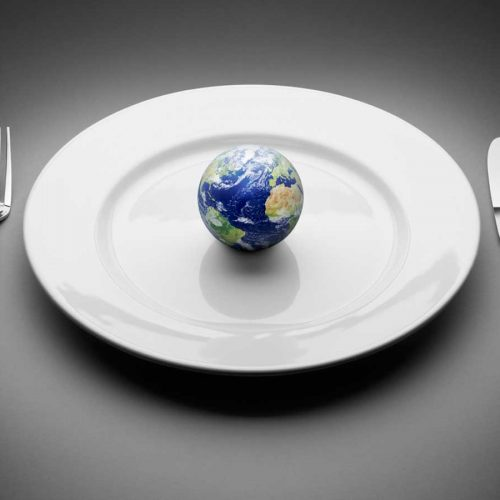 A small blue planet on a white plate with cutlery