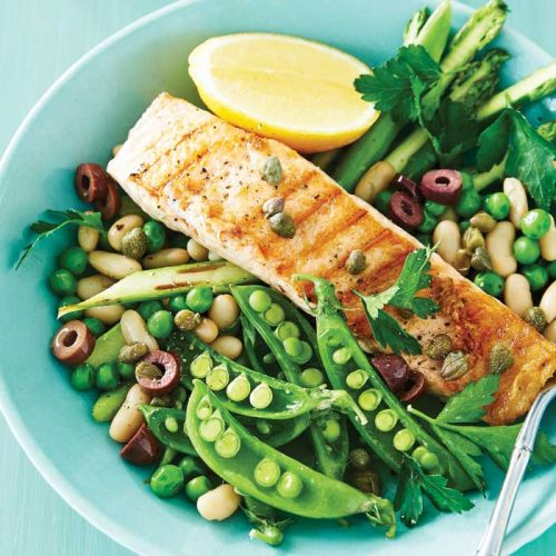 Grilled salmon with warm peas, asparagus and cannellini beans