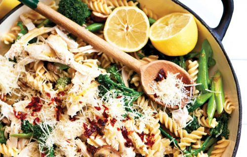 Lemony chicken and mushroom pasta