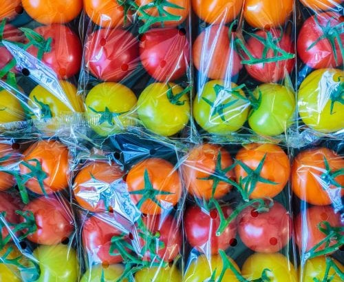 tomatoes in plastic