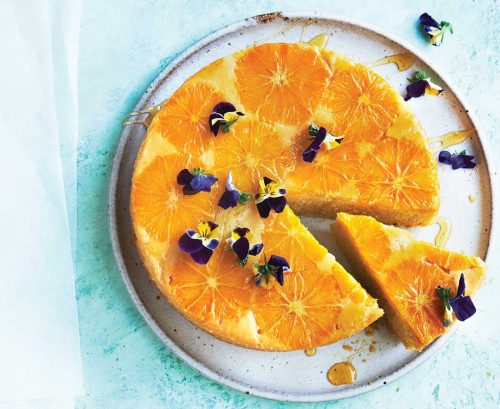 Upside-down orange and almond cake with rosewater yoghurt