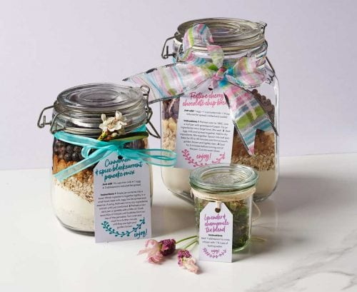 baking and tea mixes in gift jars
