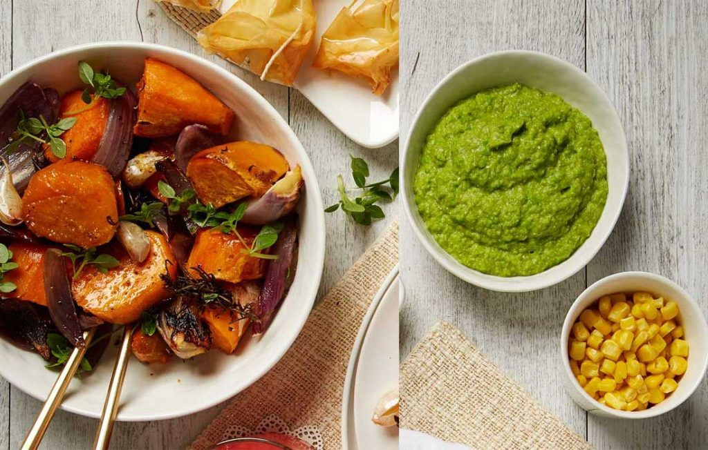 sweet potatoes and pea puree
