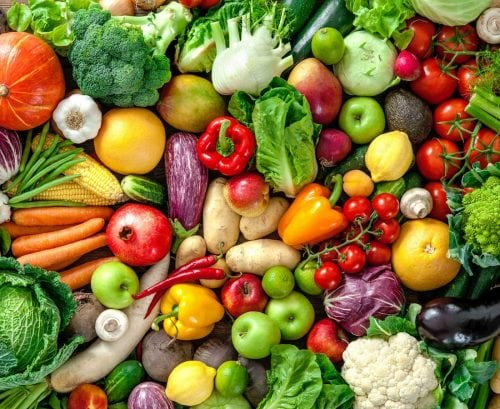 Fruit and vegetables of many kinds