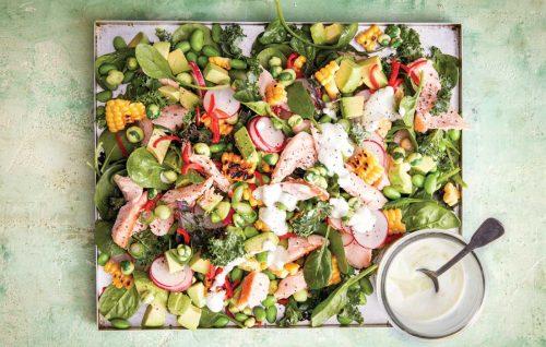 Hot smoked salmon salad with wasabi dressing