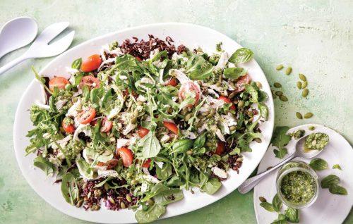 Pesto chicken, pepita and rocket salad