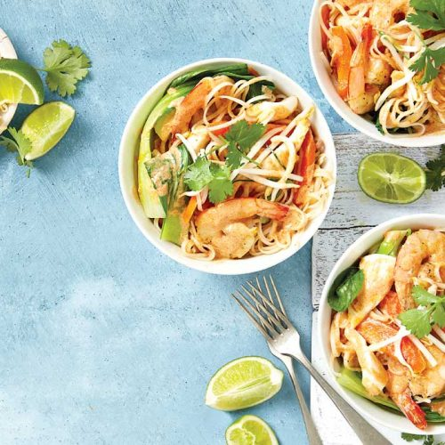 Thai red curry with seafood and noodles