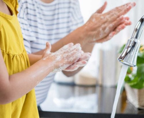 Hand washing to protect against coronavirus