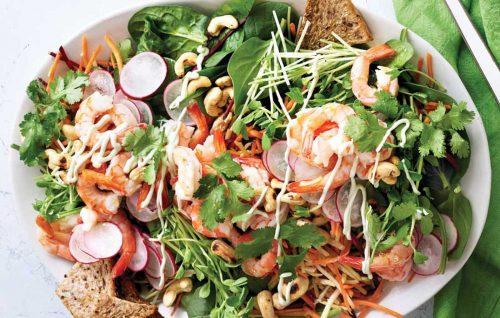 Rainbow prawn salad with wasabi dressing