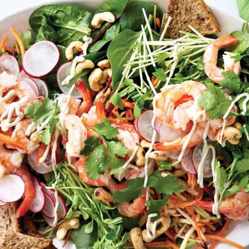 Rainbow prawn salad with wasabi dressing