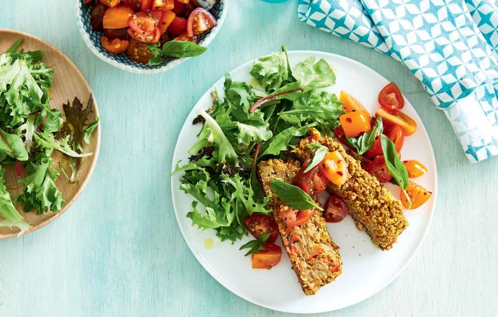 Vegan lentil 'meatloaf' with tomato chilli salsa